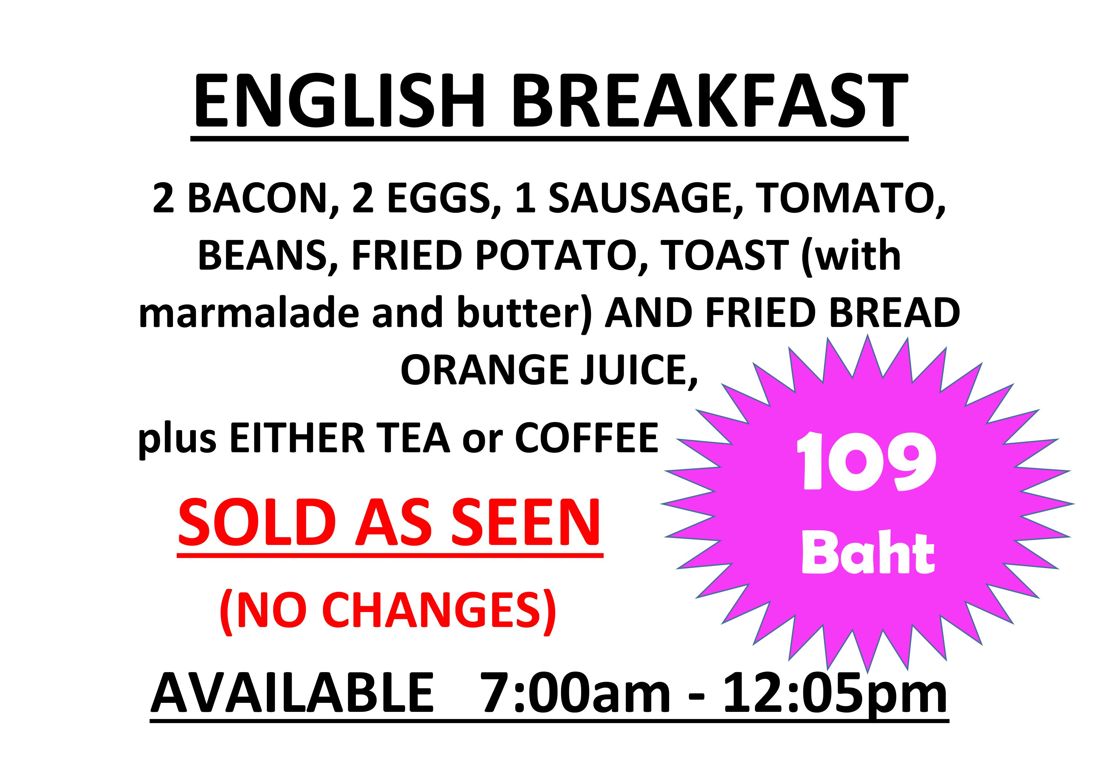 Best value breakfast in Pattaya